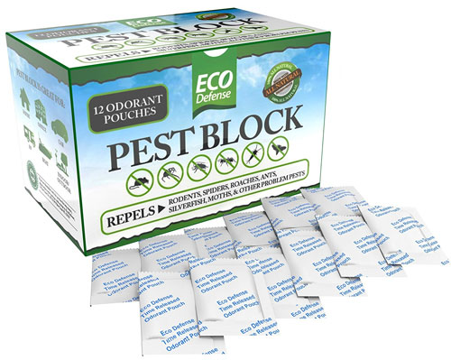 Pest Block Natural Odorant Pouches Repels Rodents, Spiders and Moths Using Safe Essential Oils